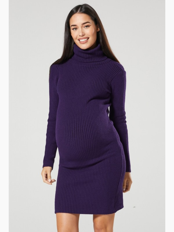 Roll Neck Ribbed Maternity Dress